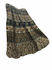 BOHO WOMEN WRAP SKIRT BROWN PRINTED GYPSY HIPPY CHIC COTTON MAGIC SKIRTS