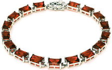 17.50ct Radiant Cut Red Garnet .925 Sterling Silver Bracelet