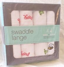 "Aden + Anais Muslin Swaddle 4 - Pack - ""Mod About Baby"" - Bees, Frogs, Fish, Bug"