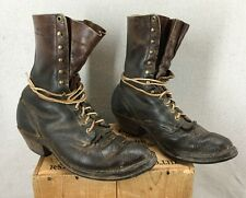 Vintage White's Brown Leather Packer Logger Boots Sz 9D Spokane, Wa