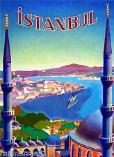 Istanbul Turkey Vintage Travel Art Advertisement Poster