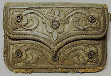 "RARE 18th C TURKISH OTTOMAN ""DIVAL"" GILT-SILVER EMBROIDERED LEATHER COIN CASE"