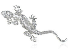 Clr Crystal Rhinestone Crawling Lizard Salamer Costume Fashion Pin Brooch B1051