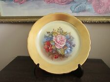 """Aynsley England Plate Signed J A Bailey Flowers Rose Gold 8"""""""