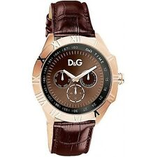 D&G Dolce & Gabbana Men's DW0835 Chamonix Rose Gold Brown Dial Brown Strap Watch