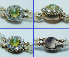 Vintage Chrysoberyl Cats Eye European Diamonds Pearl 14K Gold Necklace Estate