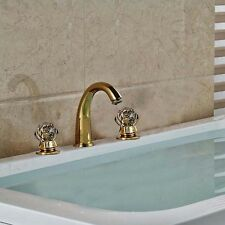 Widespread Golden Brass Bathroom Basin Faucet Dual Crystal Handles Sink Mixer