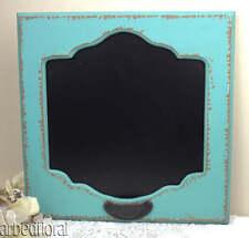 Distressed Wood ChalkBoard Aqua Blue French Style Message 14X14 Chalk Board