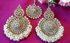 Big Chandni Pearl Tika set indianJewellery Earring Tikka Set Stone Gold  UK