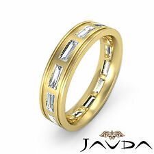 Baguette Bezel Diamond Mens 6mm Ring Eternity Wedding Band 14k Yellow Gold 2.2Ct