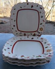 Set of FOUR Villeroy & Boch Toy's Delight Square Dinner Plates NEW