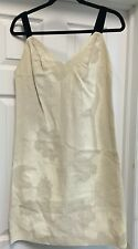 PRADA Linen Ivory Dress Above Knee Blue Velvet Straps Italy Sz 40