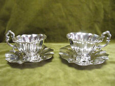 early 20th c french sterling 950 silver 2 tea cups flower form 439g Debain
