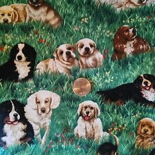 Puppy Dogs Playing in Grass Puppies Dog Novelty Quilt Fabric Fat Quarter FQ FQs