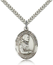 "Saint Pio Of Pietrelcina Medal For Men - .925 Sterling Silver Necklace On 24""..."