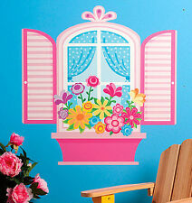 WALLIES PRETTY WINDOW wall stickers MURAL 22 decals shutters flower box Girly