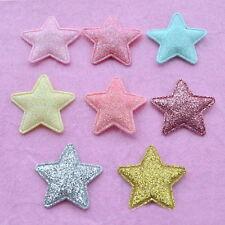 30pcs Glitter Padded Felt Star Appliques Craft Scrapbook Mixed Colors 32mm
