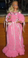 GORGEOUS BARBIE DOLL+HAND CROCHETED OUTFIT~Roses+Pearls~BRIDESMAID~Stunning Work