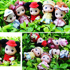 Lots 5PCS Mini 9cm Knitted Cap ddung Girl Dolls chain charms as Dollhouse