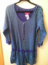 VICTORIA'S SECRET Navy with Bright Green Stars Thermal Short Romper  NWT Large