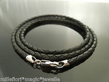 "3mm Black Braided Leather & Sterling Silver 24"" Necklace With Lobster Clasp"