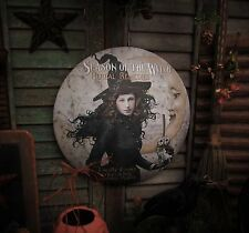 Primitive Antique Vtg Style Halloween Season of Witch Moon Round Dome Sign Tin