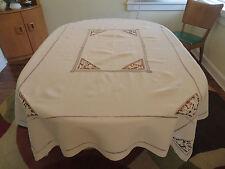 Vtg Antique Heavy Linen Tablecloth Elaborate Point de Venise Lace Bride Insets