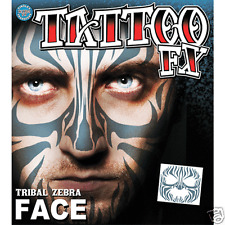 Tribal Zebra Costume Face Kit Temporary Tattoo FX Tinsley Transfers Costume