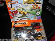RARE 2 LOT MATCHBOX CITY LINKS TAXI WORKDAY PLAYSET & 10 PACK W/ VW BUG PORSCHE