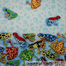 BonEful Fabric BTHY Cotton Quilt Blue Water Sea Beach FROG Poison Bubble Border