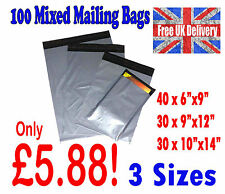 100 Mixed Mailing Bags Assorted Strong Grey Plastic Mailers 3 Sizes Free Postage