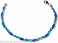 Blue Topaz & Blue Fire Opal Inlay 925 Sterling Silver Link Tennis Bracelet 7.5''