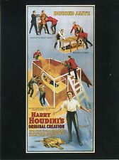 POST CARD OF AN OLD ADVESTISMENT FOR HARRY HOUDINI'S SHOW FEATURING BURIED ALIVE