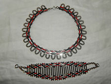 ART DECO MACHINE AGE JAKOB BENGEL MAERWORK BRICKWORK NECKLACE & BRACELET ~1930s