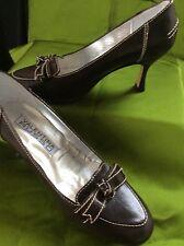 En cuir marron court décontracté bureau chaussures 4/37 crème top stitch valentina russo
