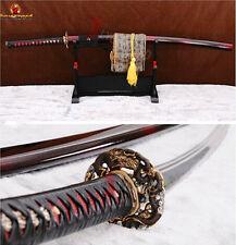 Japanese Abrasive Samurai Katana Damascus Clay Tempered Battle Ready Sharp Sword