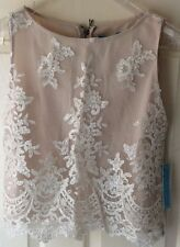 Alice + Olivia Sequin Cream Embroidered Top by Stacey Bendet Womens Ladies UK S