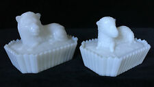 Pair Lion and Lamb Milk Glass Covered Dishes on Picket Bases- mid-20th Century