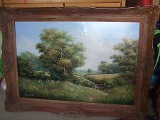 Signé tony mercier, paysage huile sur toile merveilleuse peinture 93 x 67cm encadrée