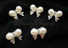 (5pcs) pearl bow with rhinestones elegant nail art charms for nails and acrylic