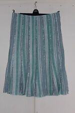 Size 14 PER UNA Skirt Linen Blend Green and White Striped Panel Lined (104)