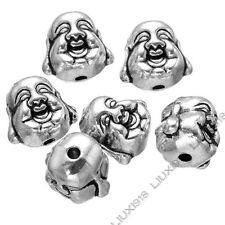 10pc Tibetan Silver 2-Sided buddha head Spacer Beads For Necklace Bracelet PJ753