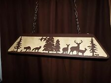 X Large Laser cut Steel Whitetail Deer & Fox Pool Table Light Lamp hunt COPPER