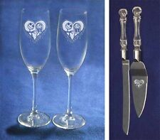 Nightmare Before Christmas Wedding Glasses Knife Server heart