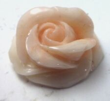 NOS Antique Vintage Carved Coral Flower Large Rose Stone Undyed #OK63