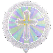 "Baptism or Communion Cross Celebration Theme Foil Balloons 18"" (3 Balloons )"