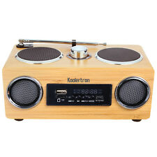 Hand-made Portable Stereo Bamboo Wooden Boombox Speaker Amplifier w/ Radio TF