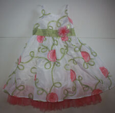 EUC Toddler Girl's Size 5T White Green Pink Party Dress Youngland Tulle Floral