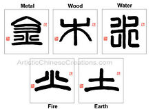 Chinese Calligraphy Symbols - Feng Shui Art ( 5 pieces)