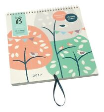 Busy B Family Calendar with Tree and Birds Design 5 Columns Storage + Stickers